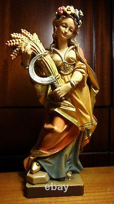 11 Vintage painted wooden hand carved Patron Saint St Notburga statue figurine