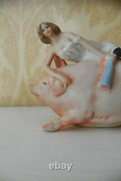2 NAUGHTY MINIATURE BISQUE FIGURINESBATHING BEAUTY RIDING PIG & WOMAN WithLEGS UP