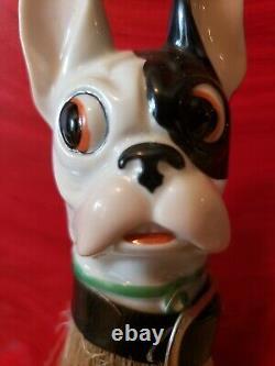 2 Vintage Porcelain French Bulldog Duster & Tooth pick brush holder Germany