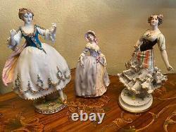 3 Vintage German Dresden Volkstedt Rudolstadt Porcelain Ladies Figure Figurines
