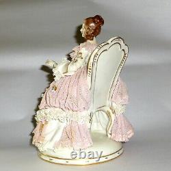 8 Antique Ackerman & Fritz Dresden Porcelain Figurine Woman Reading Book