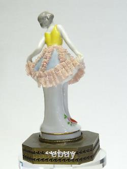 ANTIQUE 19c VOLKSTEDT DRESDEN LACE LADY FIGURINE MOUNTED ON BRASS BASE