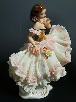 ANTIQUE DRESDEN Lace Porcelain Ballerina Germany 5.75 Gold Gilding AS IS