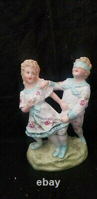 ANTIQUE HEUBACH BISQUE FIGURINE BOY & GIRL PLAYING GAME of BLINDFOLD hide & seek