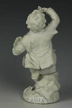Antique 18C Meissen Acier Figurine F21 Garden Children Boy Holding Grapes Worl