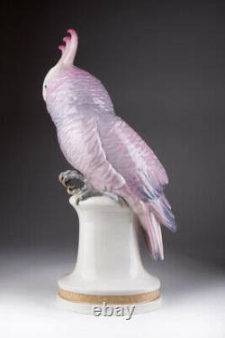 Antique 1920s Original Rare Porcelain parrot KARL ENS Pink Cockatoo Marked 39 cm