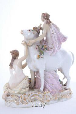 Antique 19th Original Figurine Cow surrounded by three women MEISSEN 21.5 cm