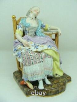 Antique 19th Original Germany Meissen Porcelain Figurine Sleeping Woman Marked