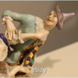 Antique 19th Original Rare Germany Woman and harlequin Figurine Porcelain 18cm