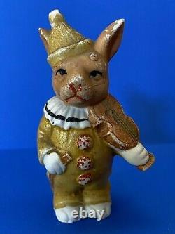 Antique Bisque Bunny Rabbit Clown Doll with VIOLIN German Figurine Halloween Rare