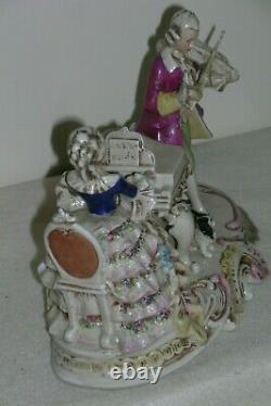 Antique Carl Schneider Porcelain Figurine Woman Piano Man Violin 19773 Germany