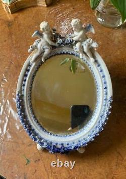 Antique Cherub Cupid Angel Mirror Sitzendorf Dresden German Porcelain Figurine