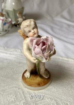 Antique Cherub Cupid Angel Sitzendorf Dresden German Porcelain Figurine