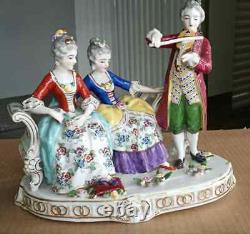 Antique Continental German Style Porcelain Figurine Grouping, 9.5 high