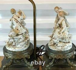 Antique Continental German Style Porcelain and Bronze Table Lamps, Couple, 23 H