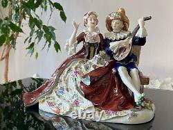Antique Dresden Capodimonte Singing Couple Figurine, Large