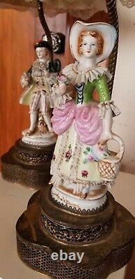 Antique Dresden figurine German Fabulous porcelain Lace Lamps