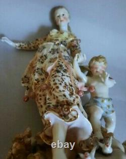 Antique Figurine Statue Porcelain Marked Hand Painted Girl Angel Lady Triebner
