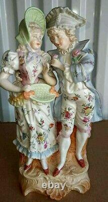 Antique German Colonial Porcelain Figurine Couple, 13 high