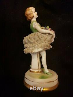 Antique German Dresden Lace Art Deco Girl Flapper Dancer Porcelain Figurine