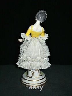 Antique German Dresden Lace Art Deco Lady Doll With Parrot Porcelain Figurine