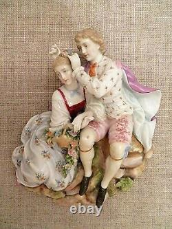 Antique German Dresden Porcelain Couple Figurine Wall Decor Plaque Hanging 9 x 9