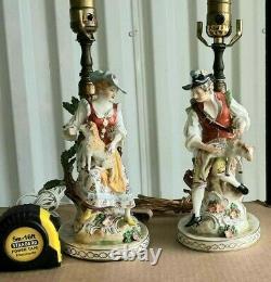 Antique German Dresden Porcelain Figurine Table Lamps Couple, 9 high