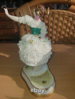 Antique German Dresden Volkstedt Lace Porcelain Figurine Of Ballerina