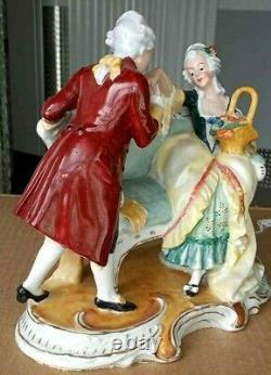 Antique German G H & Co. Porcelain Figurine, Courting Couple, 9 x 9.5