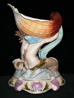Antique German Kpm Nude Lady Mermaid Goddess & Shell Bisque Porcelain Figurine