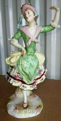 Antique German Meissen Choisy-le-Roy Porcelain Figurine, XIX C, 9 high