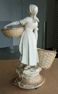 Antique German Muller Porcelain Figurine, Girl with Basket, 10 high