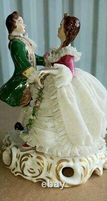 Antique German Muller Volkstedt Lace Porcelain Figurine, 6 high