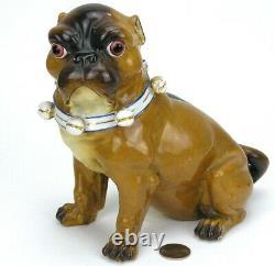 Antique German Porcelain 7.5 Pug Dog Figurine Conta Boehme 1560 34 Bells Bow