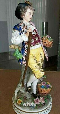 Antique German Porcelain Bisque Figurine, Basket of flowers, XIX C, 11.5 high