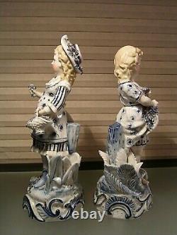 Antique German Porcelain Ernst Bohne & Sohne Figurines Pair EBS Anchor Mark