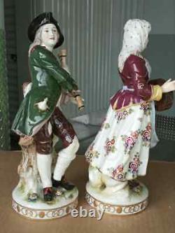 Antique German Rudolstadt Porcelain Figurine Couple, Musicians, XIX C, 12 high