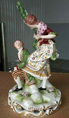 Antique German Rudolstadt Porcelain Figurine, XIX C, 9 high