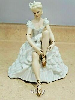 Antique German SCHAUBACH KUNST SITTING BALLERINE, PARCIAL PAPER, 7.25