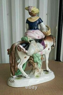 Antique German Scheibe Alsbach Porcelain Group of a Lady Rider, 10 high