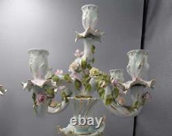 Antique German Sitzendorf Porcelain Figures Candelabra, XIX C, Pair, 20 H