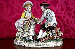 Antique German'Sitzendorf' Porcelain Figurine'Flower Sellers