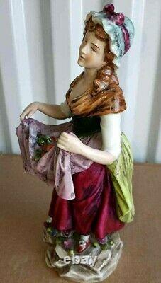 Antique German Sitzendorf Porcelain Figurine, Lady Street Vendor, 9.75 high