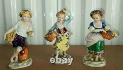 Antique German Sitzendorf Porcelain Set of 3 Miniatures, 5.5-6 H