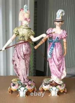 Antique German Style Majolica Figurine Couple, XIX C, 13.75 high