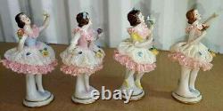 Antique German VOLKSTEDT Lace Ballerina Set, 4 pcs, 4 H