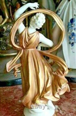 Antique German Volkstedt Gilded Porcelain Dancer Figurine