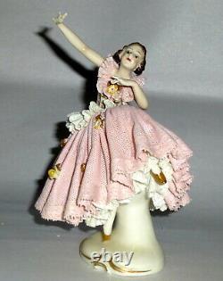 Antique Germany Ackerman & Fritz 6 High Kicking Dresden Ballerina Figurine