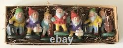 Antique Germany US Zone Painted Composition Christmas Elf Gnome Boxed Set of 7