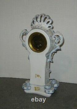 Antique H. A. C. Figurine Porcelain Mantle Clock Working Hamburg America German
